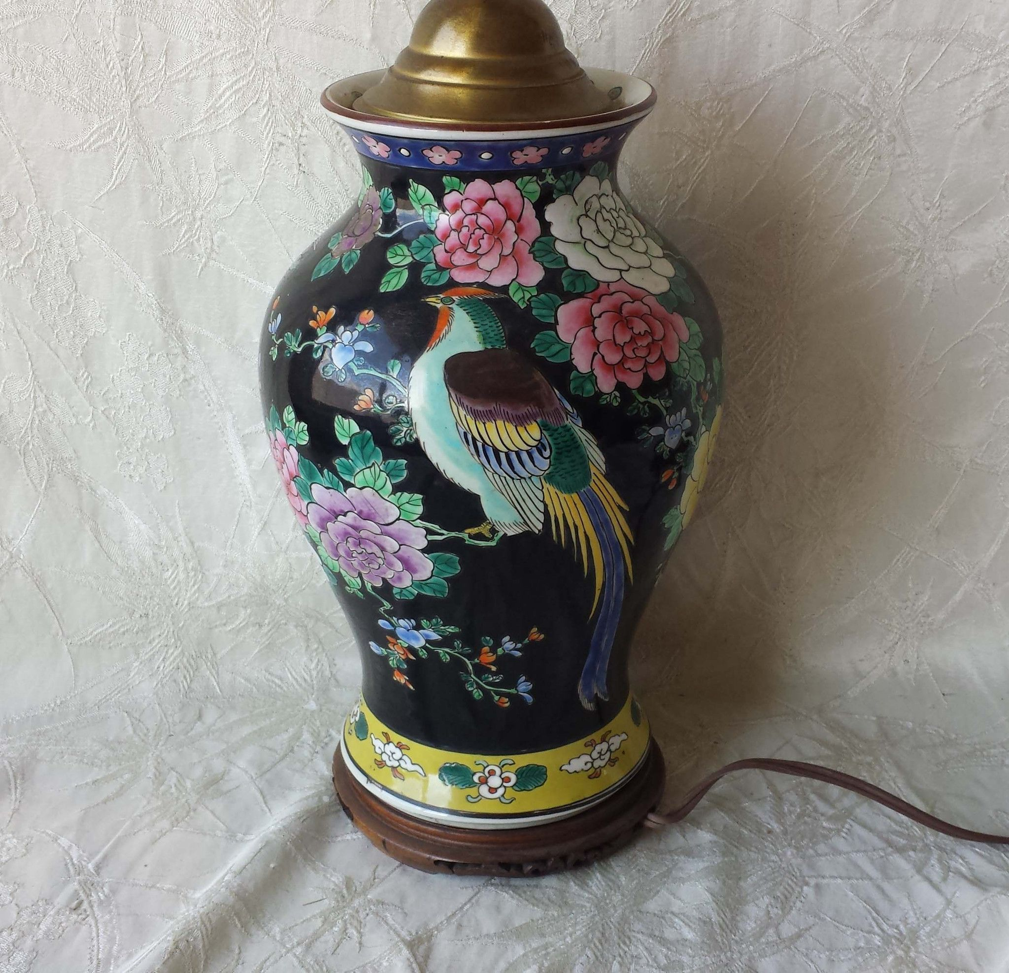 Antique chinese famille rose lamp vase wood base pink glass finial antique chinese famille rose lamp vase wood base pink glass finial reviewsmspy