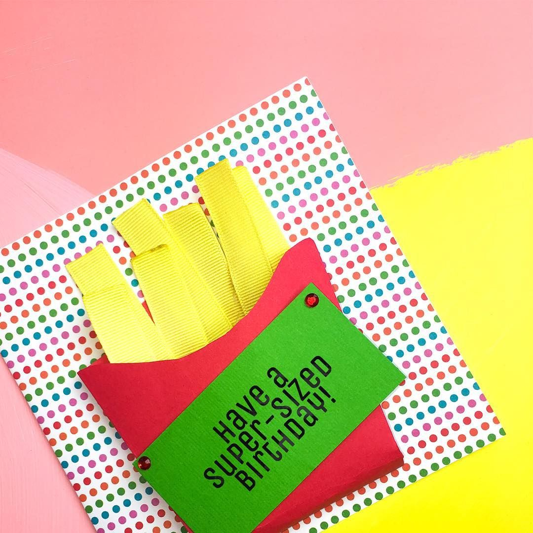 More Please Loving This Card Made With Our Yellow Grosgrain Ribbon Friesbeforeguys Frenchfries Fried Grosgrain Ribbon Card Making Offray Ribbon
