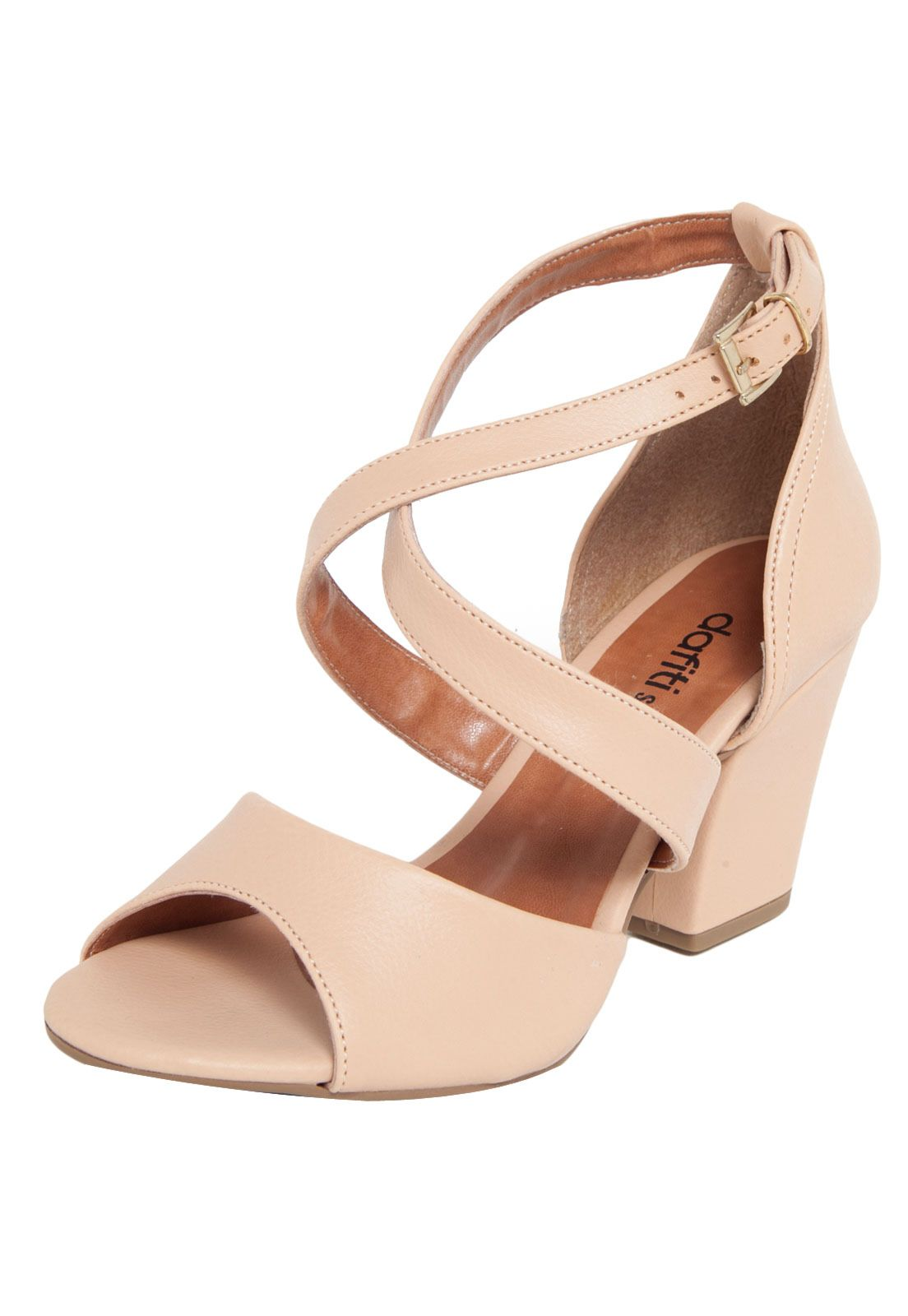 Sandália DAFITI SHOES Salto Grosso Nude - Marca DAFITI SHOES 8890205782cde