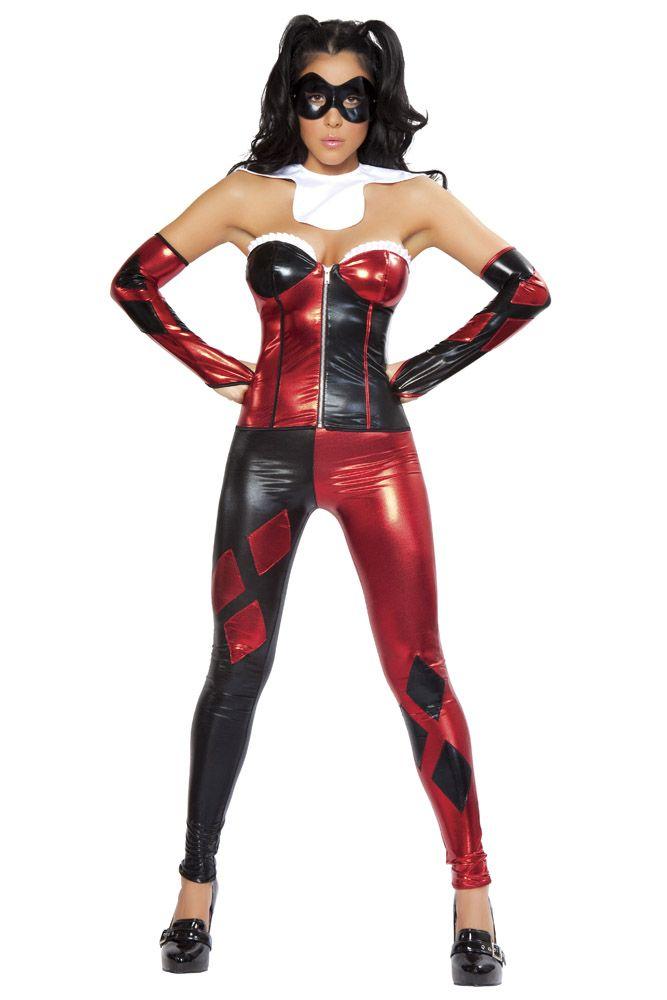 Hot Sale Adult Harley Quinn Jumpsuit Women Gotham Fancy Dress Red Black Suit