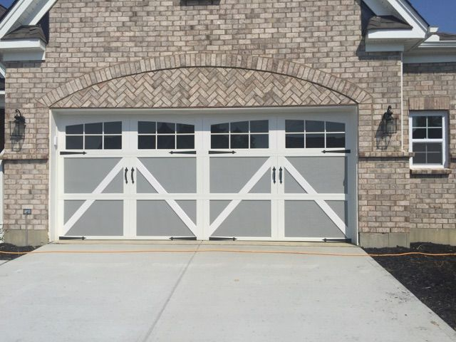 303 Carriage Garage Door Gray With White Overlay 12 24 Window Arched Spear Hardware House Plans Garage Doors White Overlay