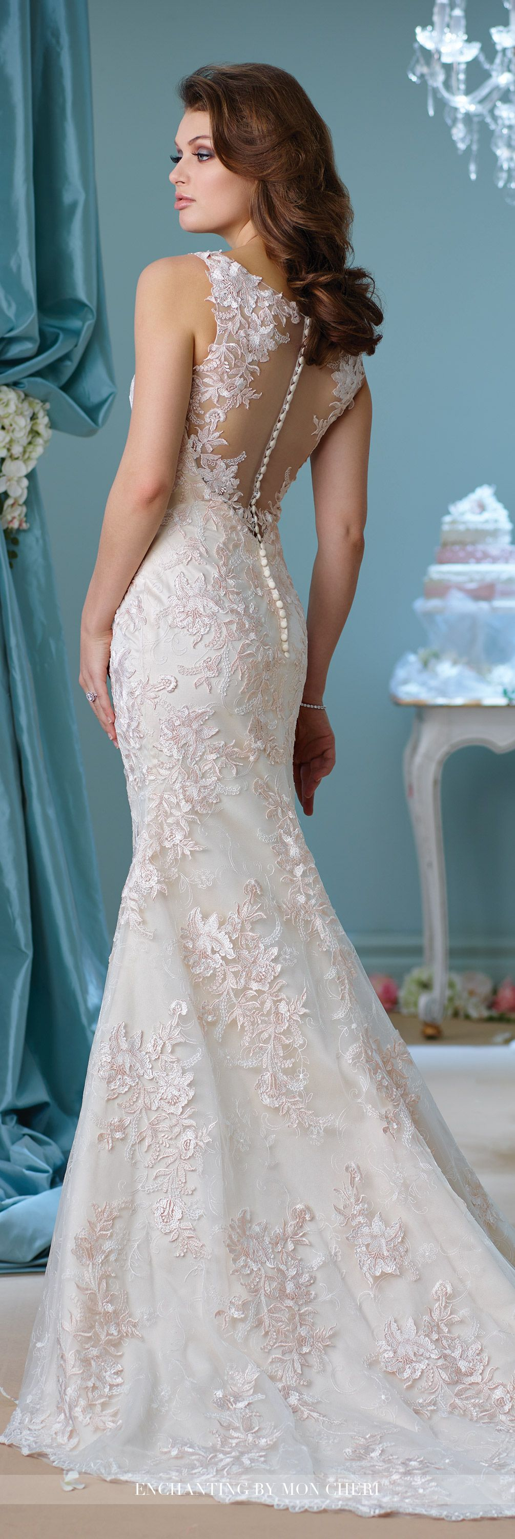 Embroidered Trumpet Wedding Dress- 216163- Enchanting by Mon Cheri ...