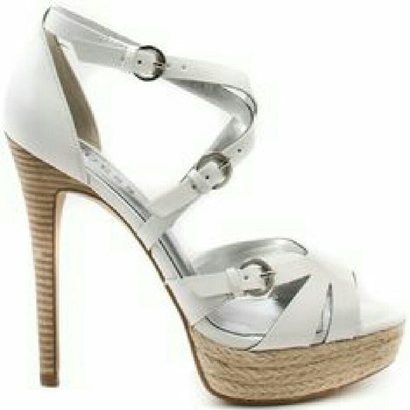 "Guess white patent strappy platform heels Summer sexy! Fabulous white patent strappy sandals by Guess. Stacked 4.75"" heel, sisal platform, silver hardware, leather sole. Worn 2-3 times. Guess Shoes"