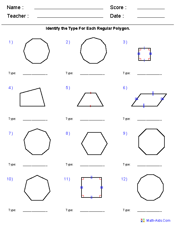 Geometry Worksheets Geometry Worksheets For Practice And Study Geometry Worksheets Regular Polygon Quadrilaterals