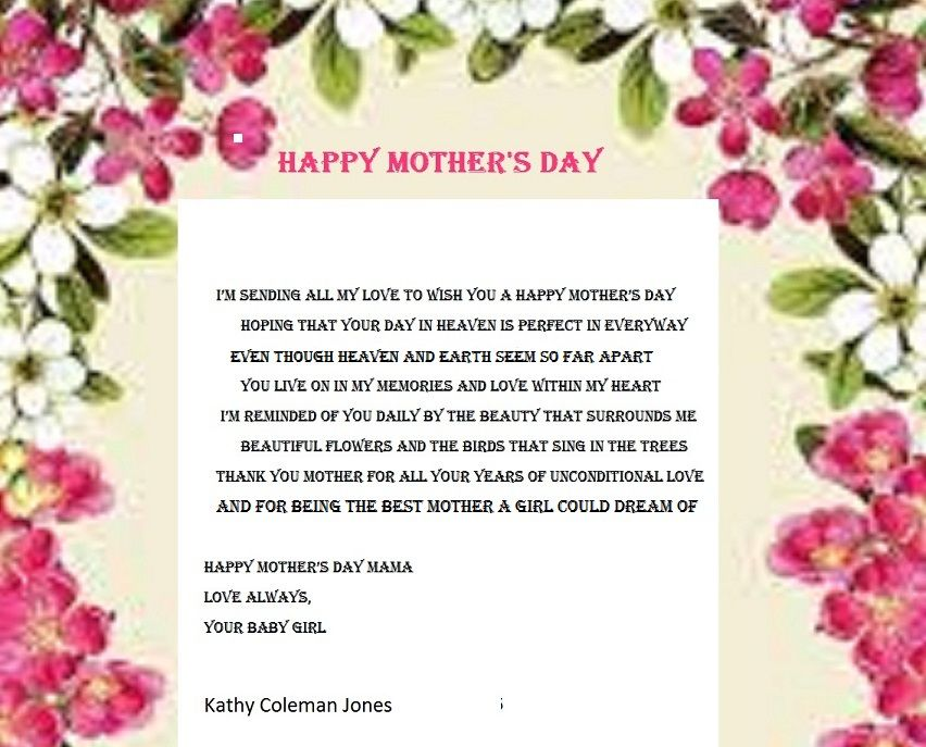 Mother's Day in Heaven Holiday Poems Happy mothers day