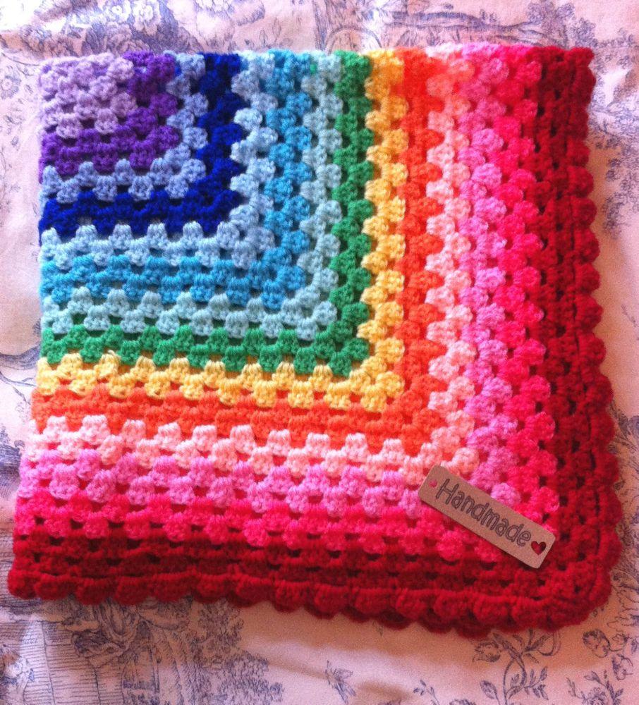 Crochet Baby Blanket rainbow- cot/pram/car seat/moses basket Red Border