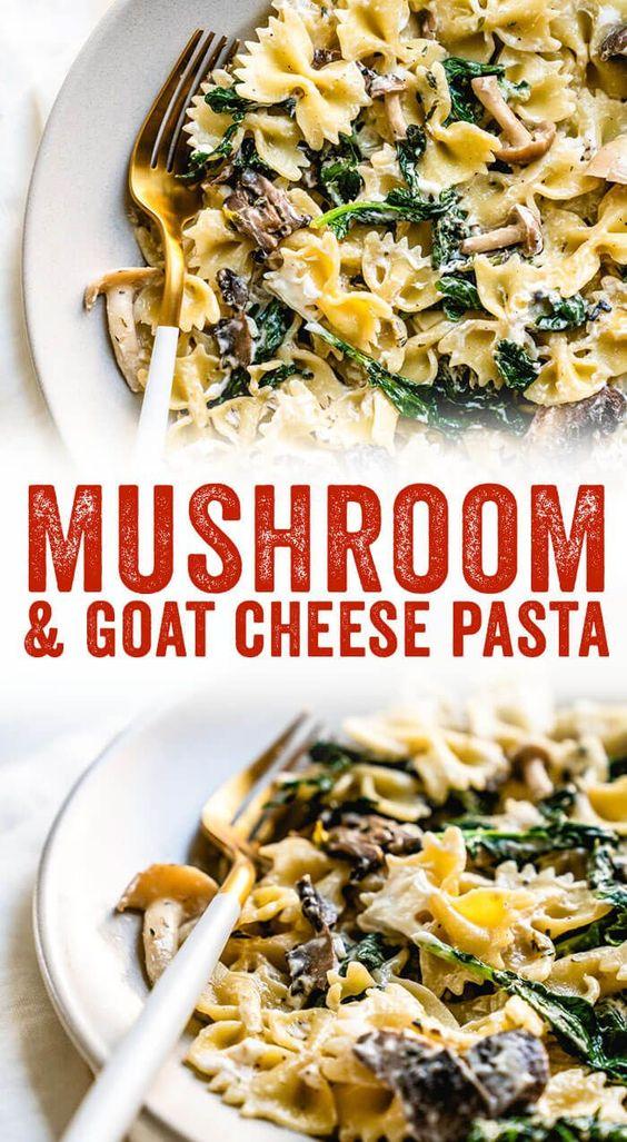 Mushroom Pasta With Goat Cheese Recipe Resep Vegetarian Resep Makanan Jamur