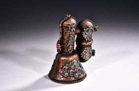 A BRONZE SILVER VAJRA, VAJRA BELL, AND CASE
