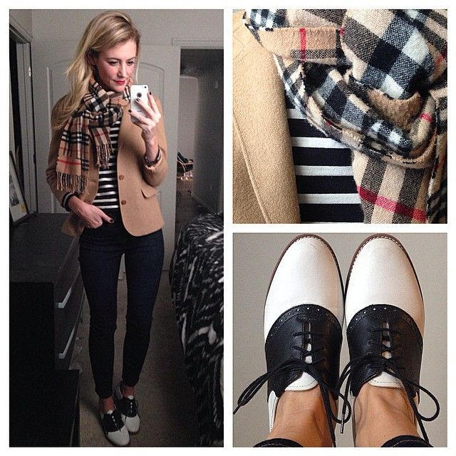 The whole outfit is a bit preppy for my taste, but the pattern mixing and colors are absolutely perfect.