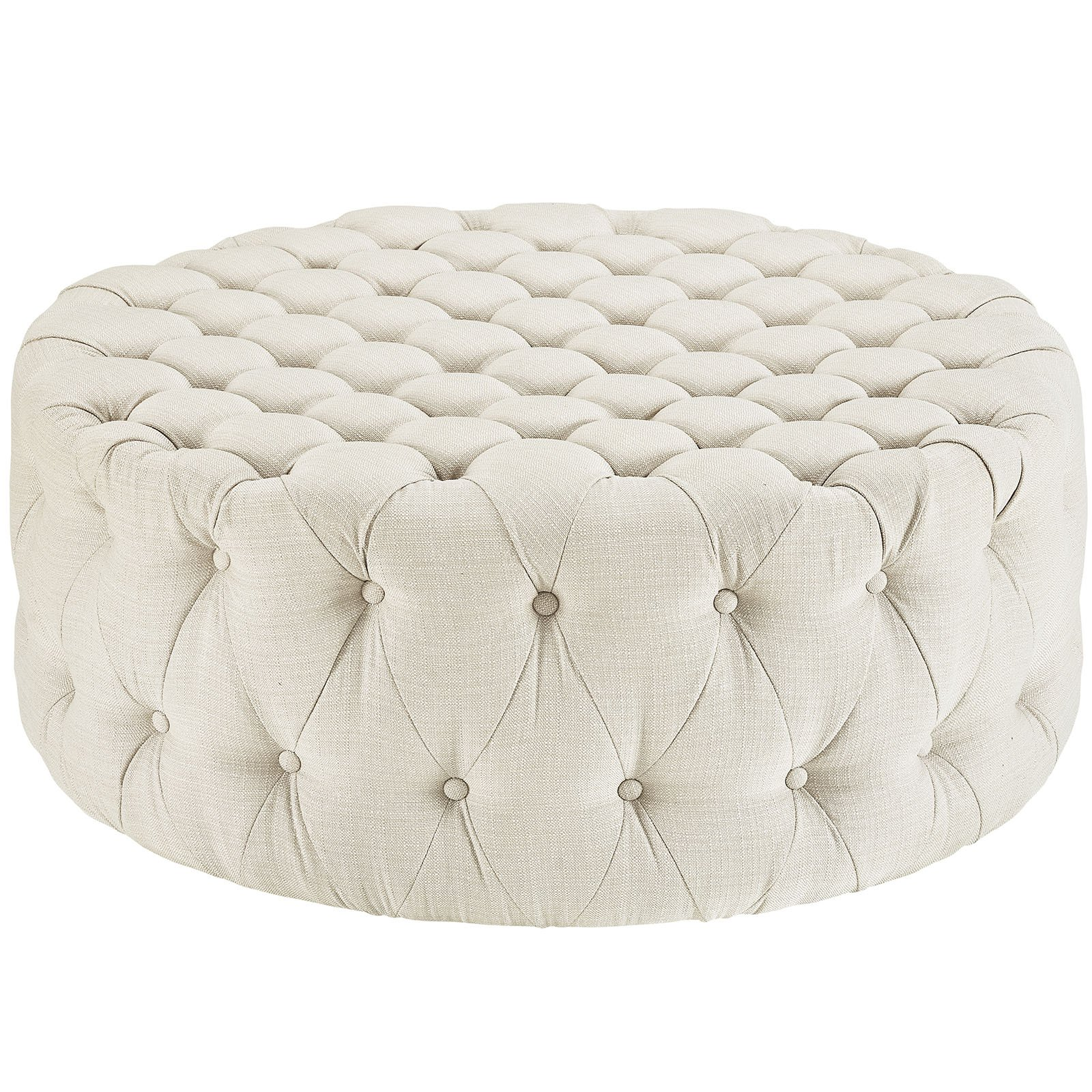 Amour Large Round Upholstered Tufted Fabric Ottoman