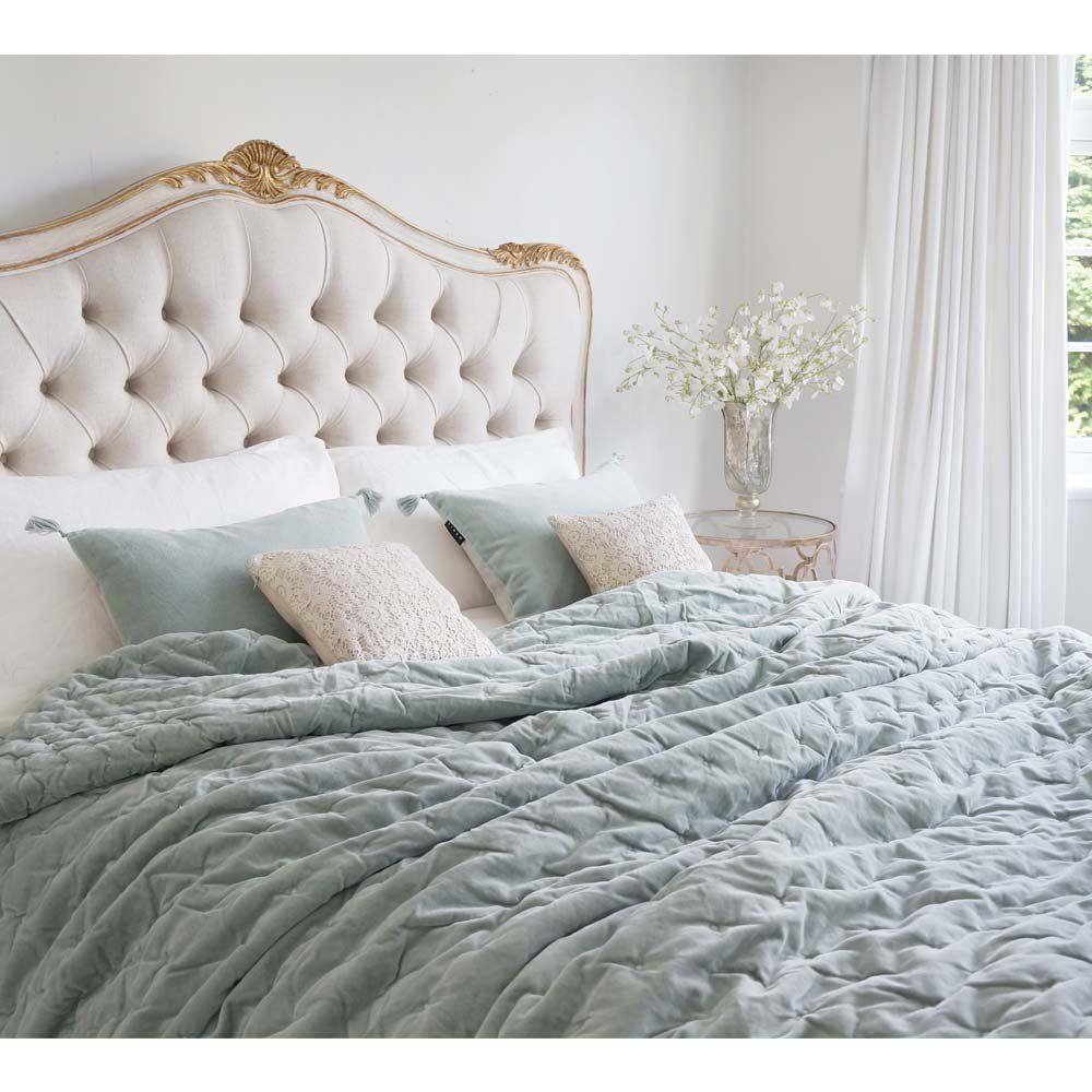 Plushious Velvet Bedspread in Duck Egg Blue Velvet Throw