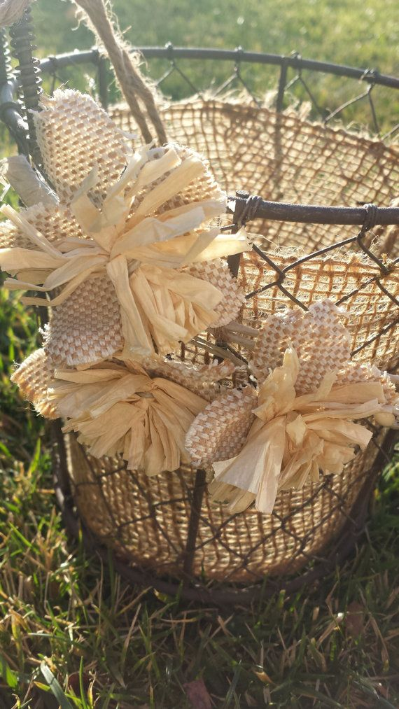 Wire and burlap Flower girl Basket by WeddingDistinct on Etsy