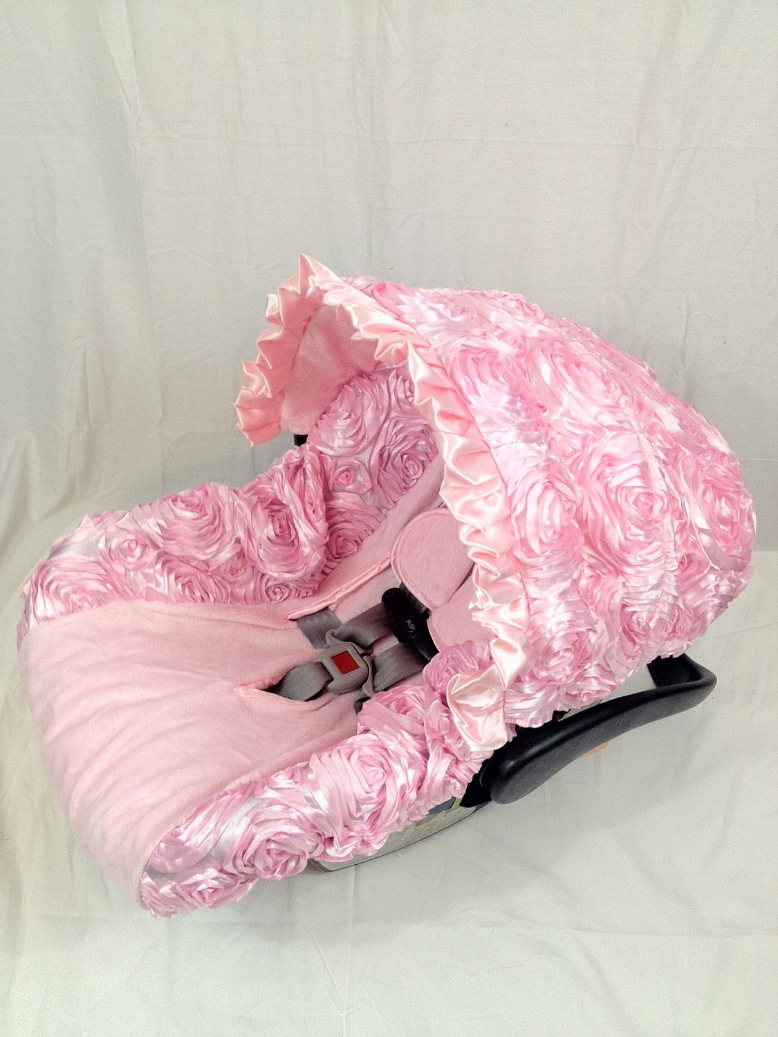 Fantastic 3D Roses Baby Pink Infant Car Seat Cover With Matching Neck Inzonedesignstudio Interior Chair Design Inzonedesignstudiocom