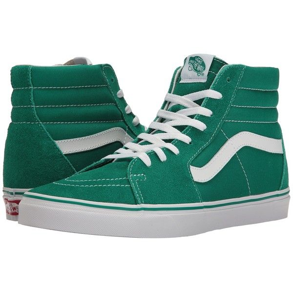 13b4e0f0c40 Vans SK8-Hi ((Suede Canvas) Ultramarine Green True White) Skate Shoes ( 65)  ❤ liked on Polyvore featuring shoes