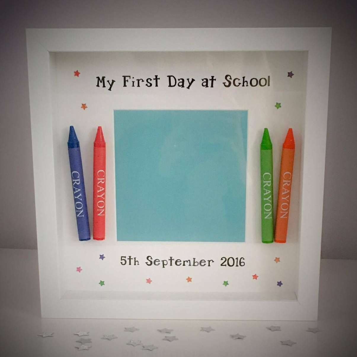 Back To School My First Day At School Crayon Frame Shadow Boxes