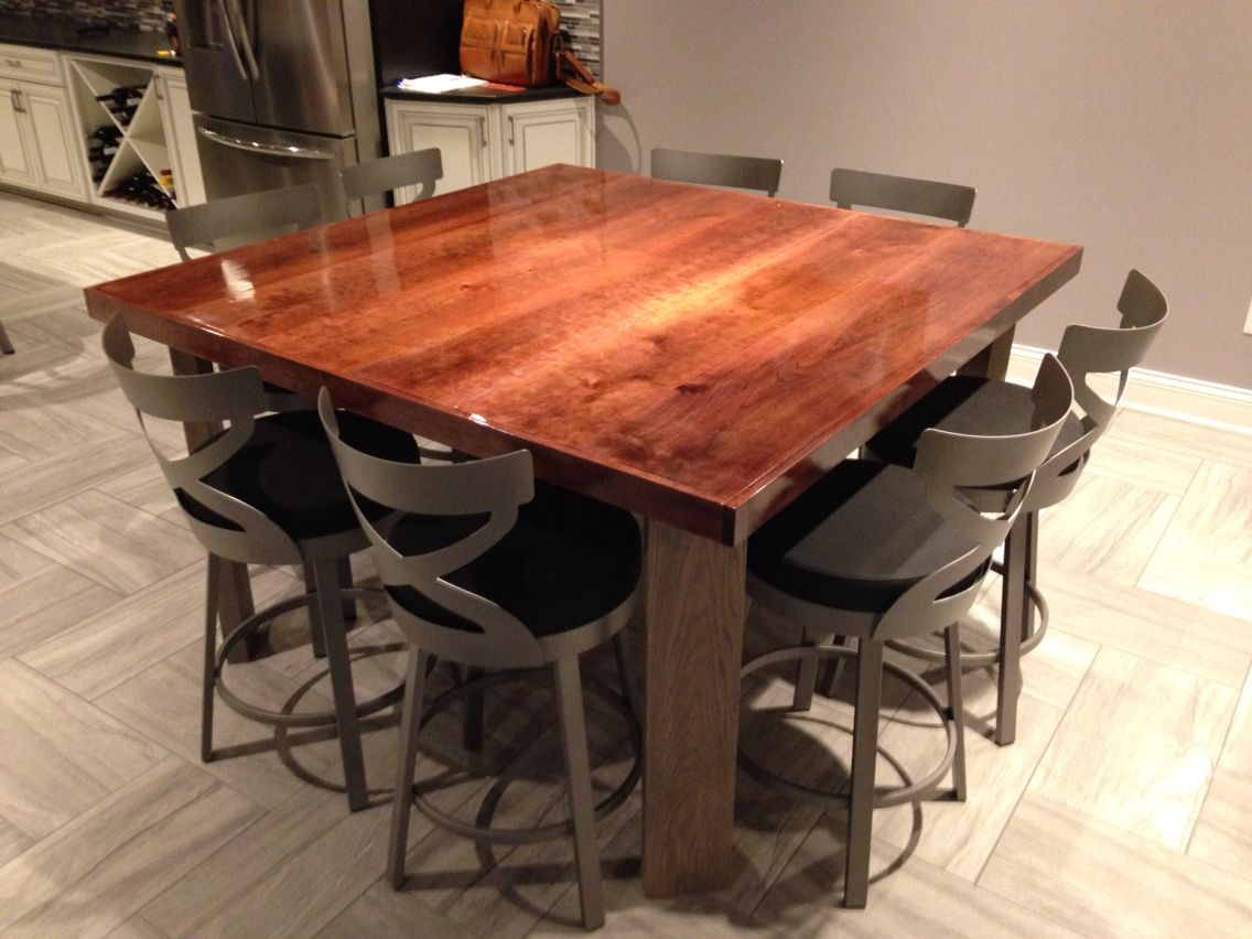 Black Cherry Table Top With Gray Oak Legs Dinning Table Table