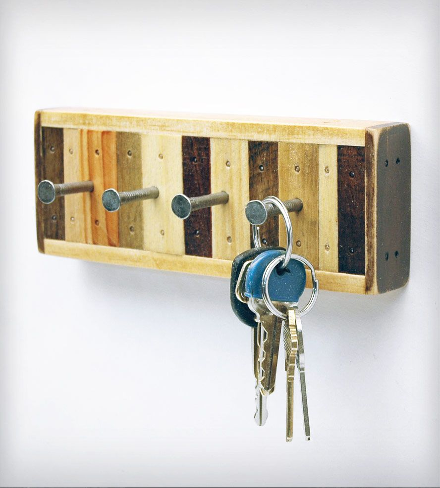 4-Hook Reclaimed Wood Key Holder   Home Decor   Six Finger Studios ...