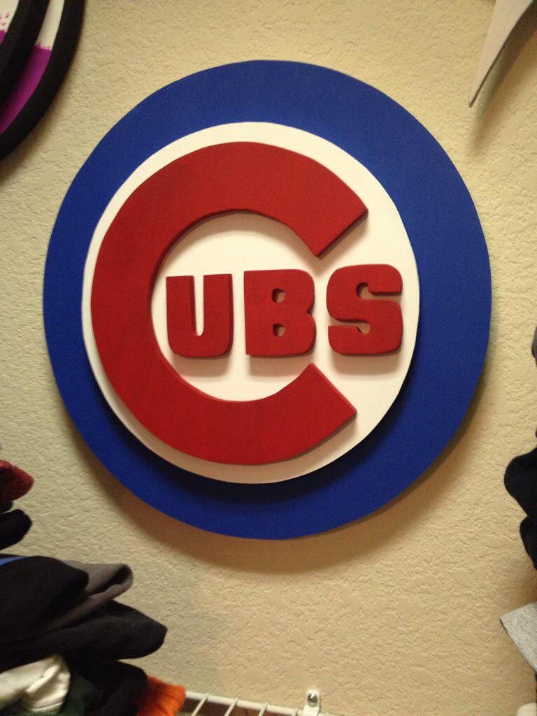 3d Wooden Sign Of Chicago Cubs Team Signs Wooden Signs Chicago