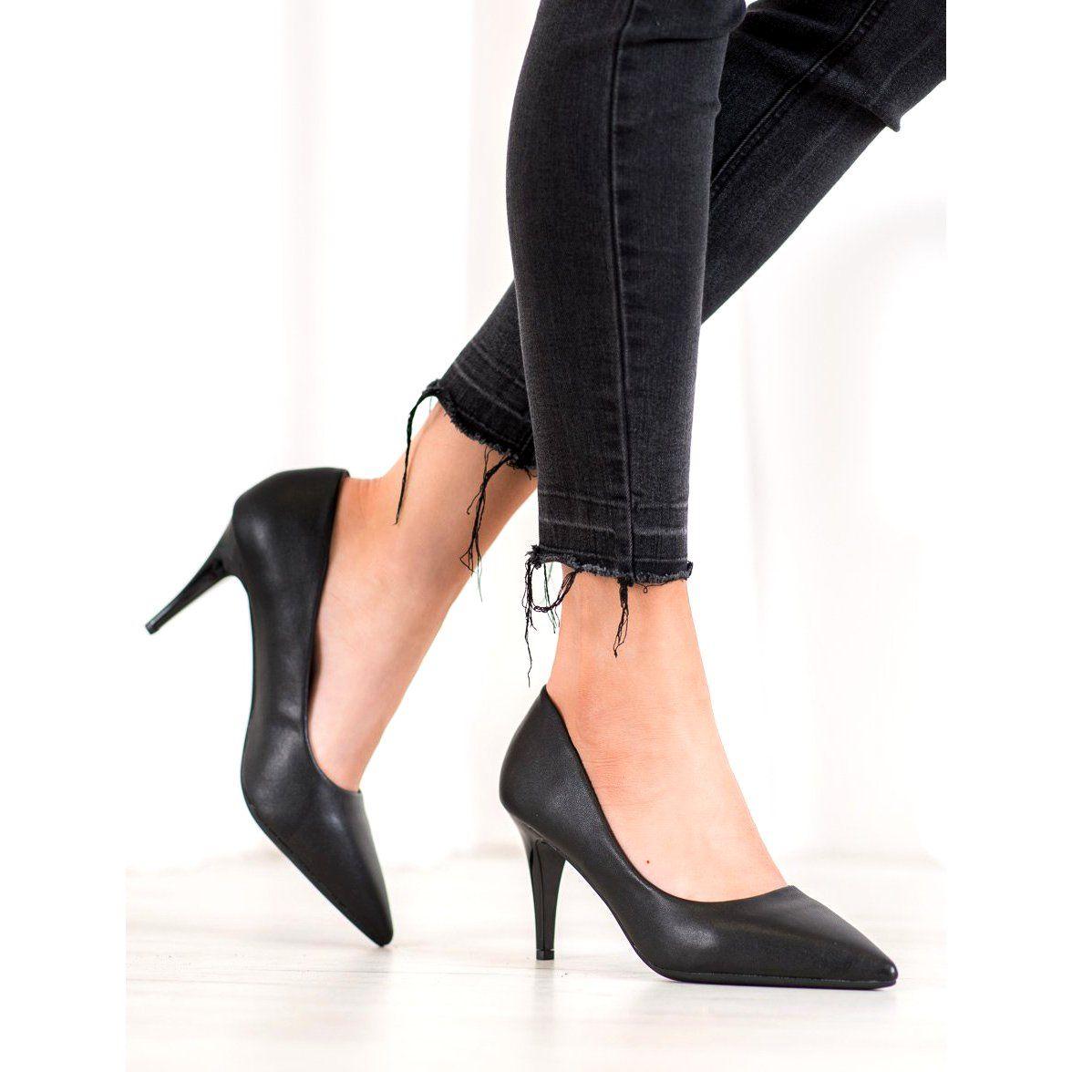 Shelovet Eleganckie Szpilki Z Eko Skory Czarne Heels Pumps Shoes