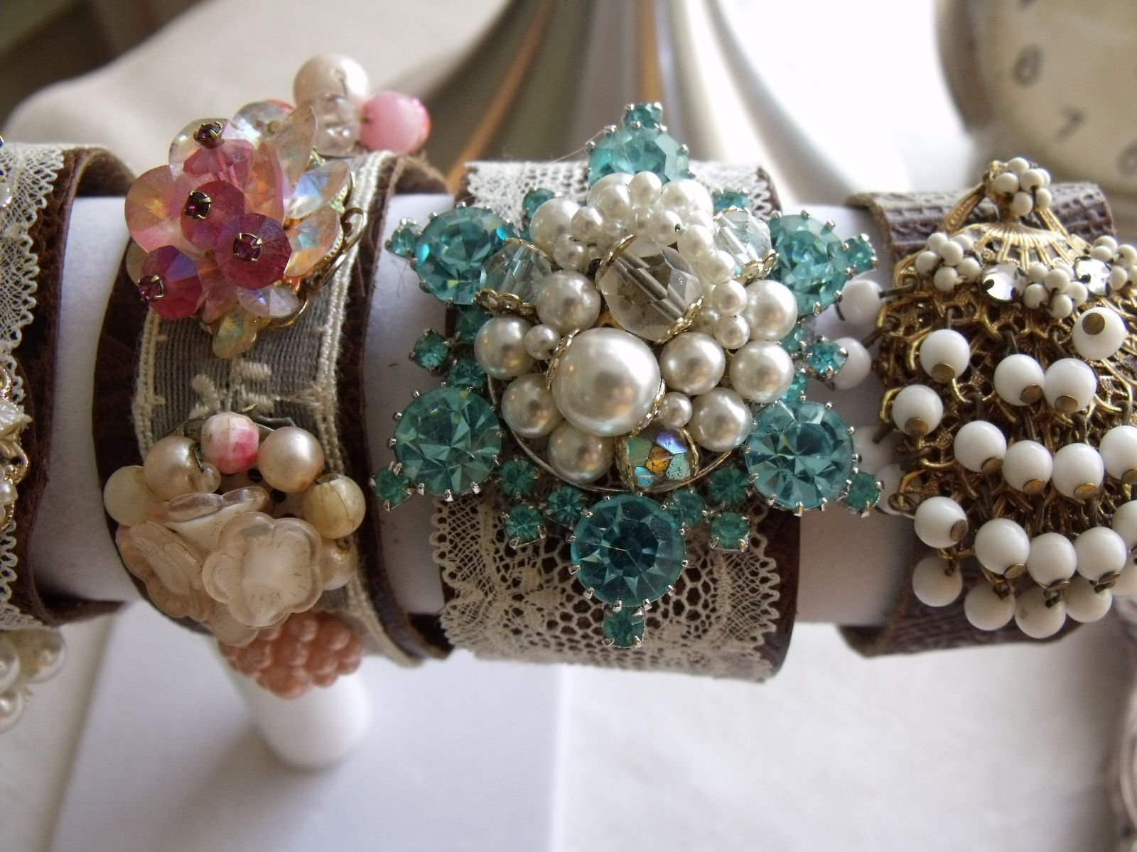 Leather Cuff bracelet with vintage jewlery & antique lace