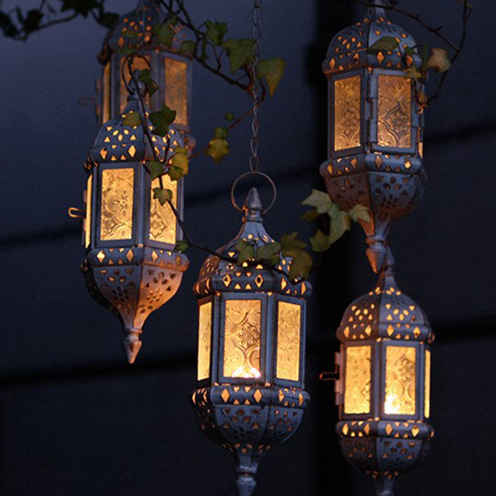 Retro Vintage Moroccan Hanging Gl Lantern Tea Light Candle Holder Party Decor