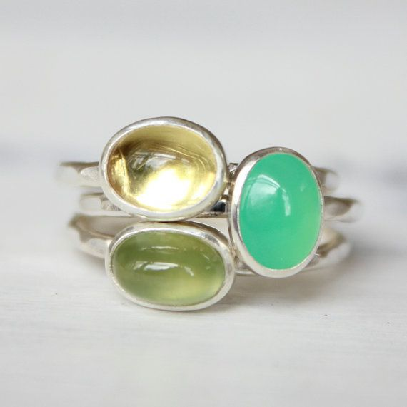 Gemstone stacking rings sterling silver by BelindaSaville on Etsy