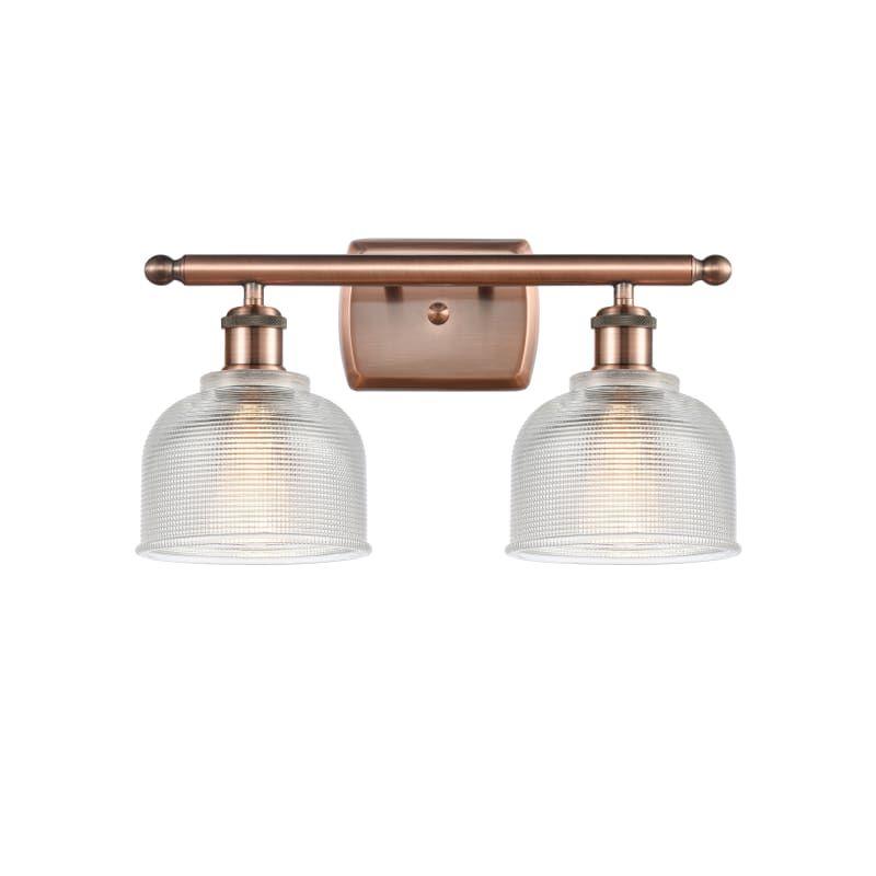 "Photo of Innovations lighting 516-2W Dayton Dayton 2 Light 16 ""wide bathroom vanity light antique copper / clear interior lighting bathroom lights vanity light"