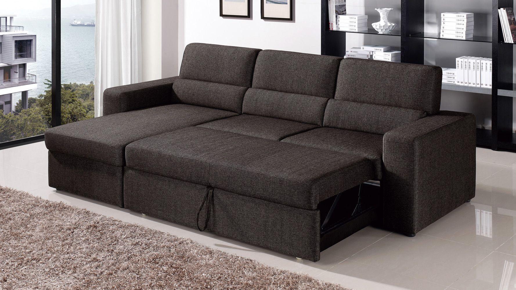 Black brown clubber sleeper sectional sofa zuri furniture