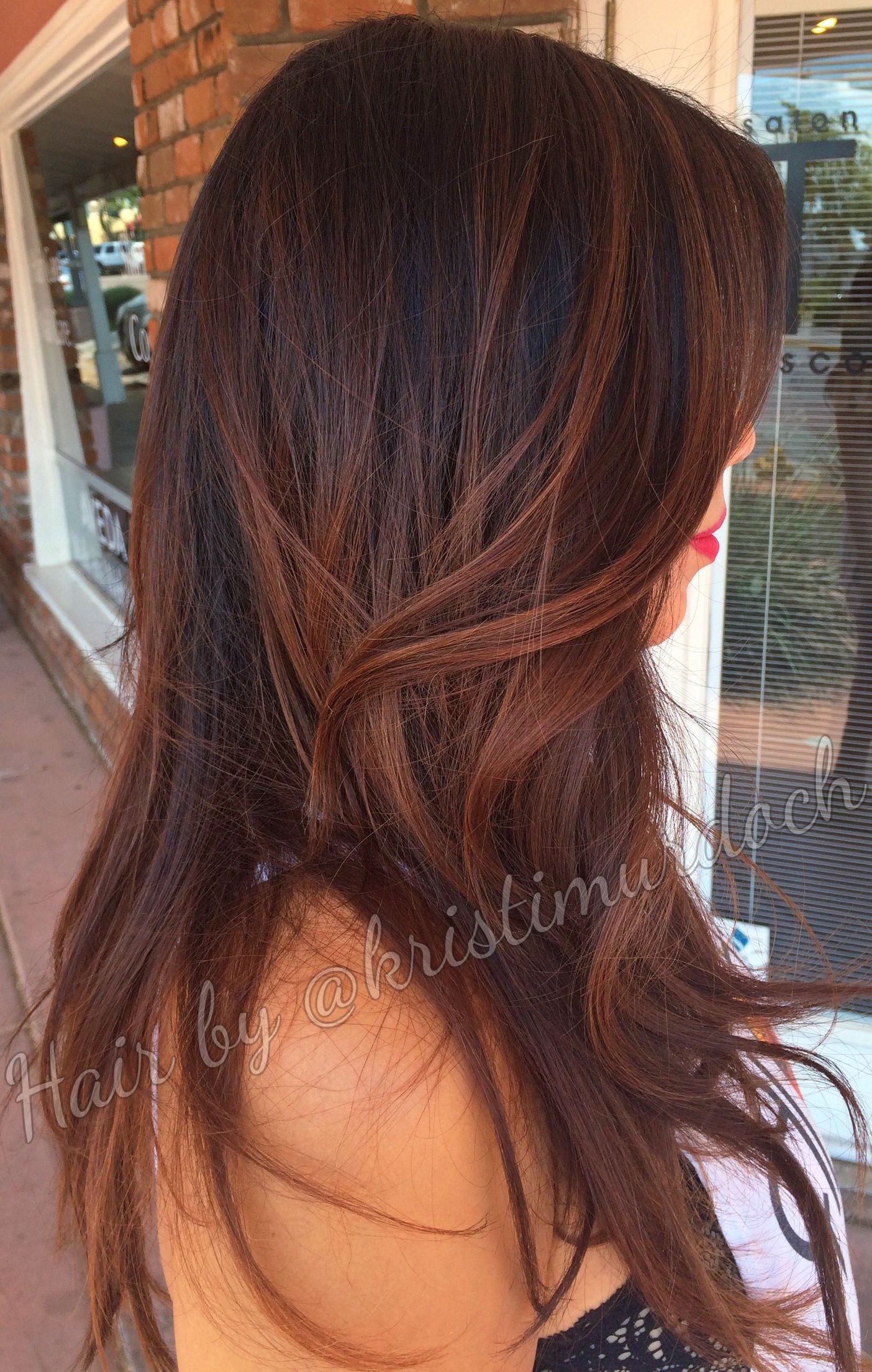 Balayage ombre salon Tru scottsdale brunette caramel hair color