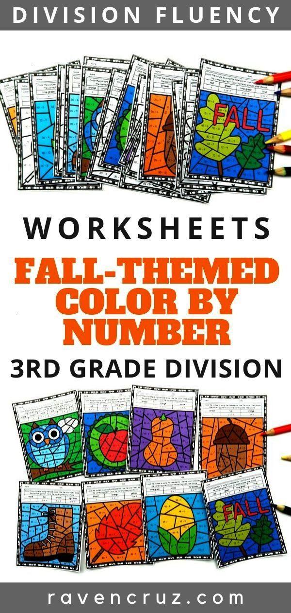 Math Division Color by Number Worksheets Grab these fall/autumn division color by number worksheets