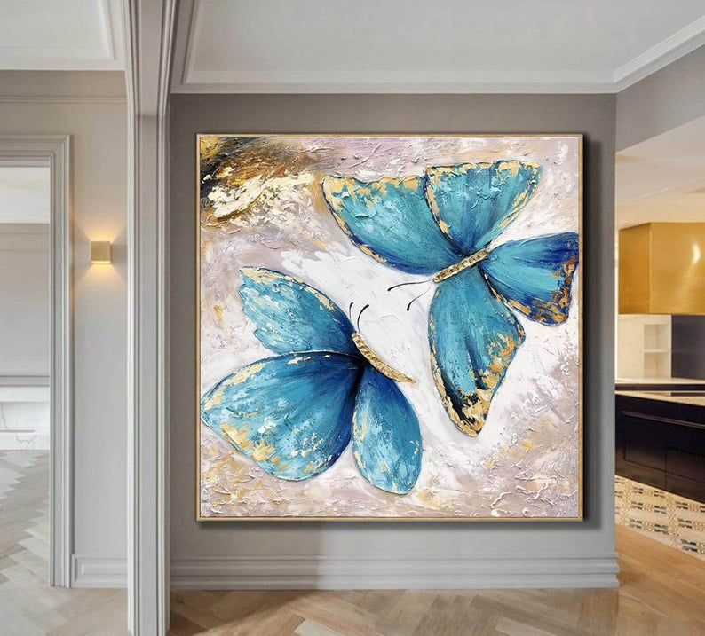 Butterfly Painting Canvasextra Large Wall Art Canvas Abstract Etsy Large Modern Wall Art Blue Abstract Painting Large Canvas Wall Art