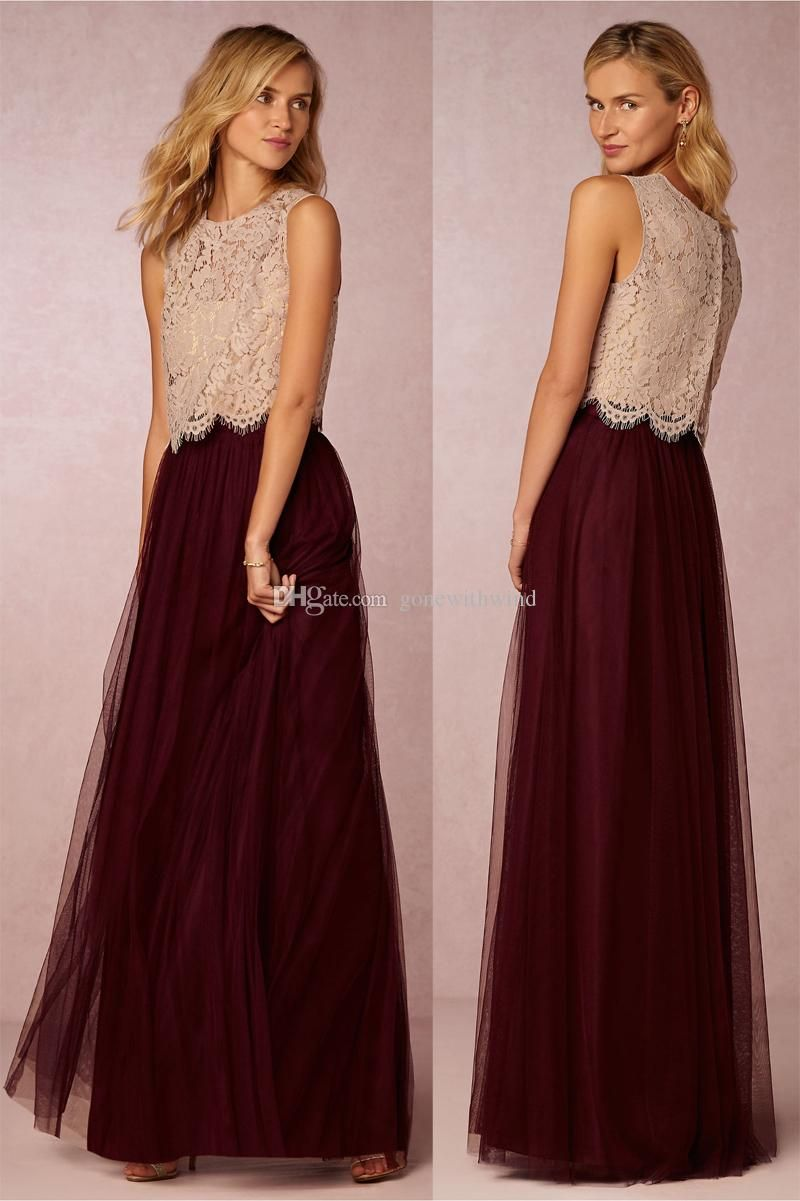 long burgundy bridesmaid dresses lace top and tulle skirt