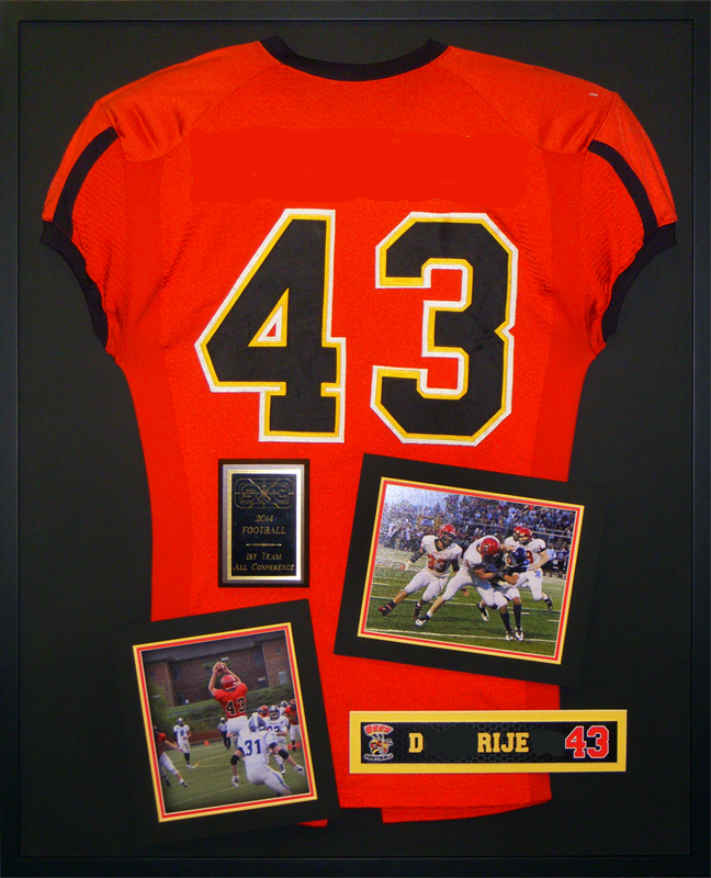 Shadow box with football jersey and pictures Unique