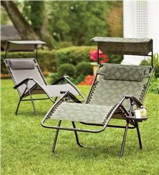Deluxe Zero Gravity Chair With Awning Table And Drink Holder