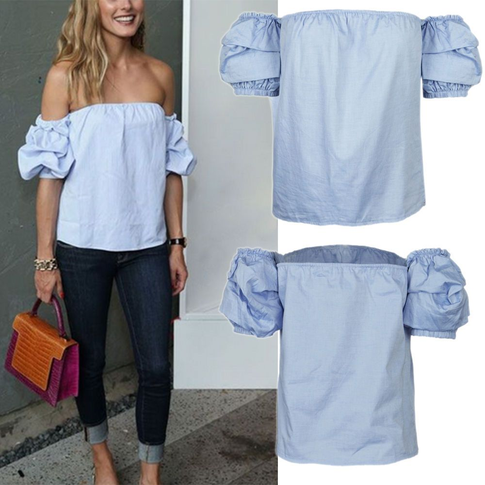 New Womens Off Shoulder Mini Crop Top 8-14