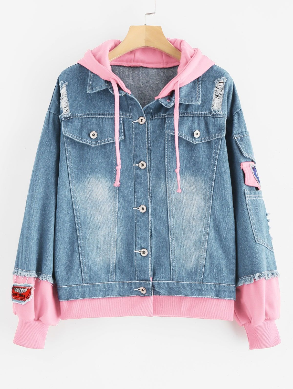 Distressed Hooded Denim Jacket Denim Blue Gray Pink Red Sakura Pink Ad Jacket Denim Denim Distr Hooded Denim Jacket Cute Skirt Outfits Denim Jacket [ 1596 x 1200 Pixel ]