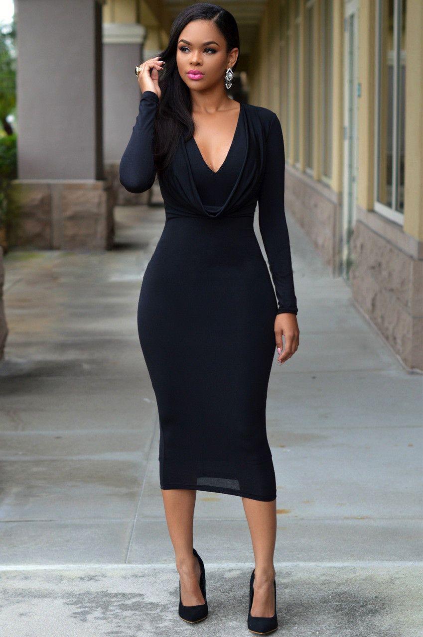 Womens glamorous long sleeve slim hip dress neck wrap and wrap dresses