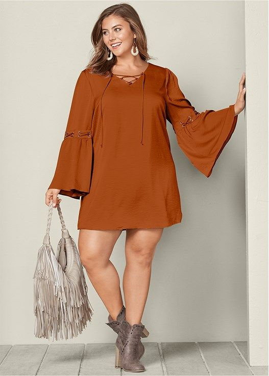 41ef7ff9563 Venus Women s Plus Size Lace Up Detail Dress - Orange