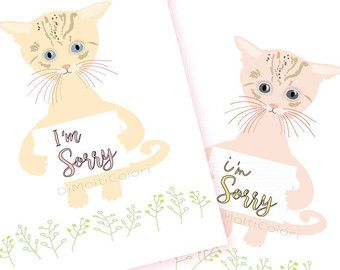 picture relating to Printable Sorry Card known as Printable Im Sorry Card, Apology Card, Lovable Cat, Kitten