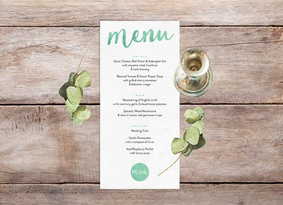 Green Boho Printable Wedding Menu In DL Size Boho Inspired - Wedding invitation templates: wedding place card size
