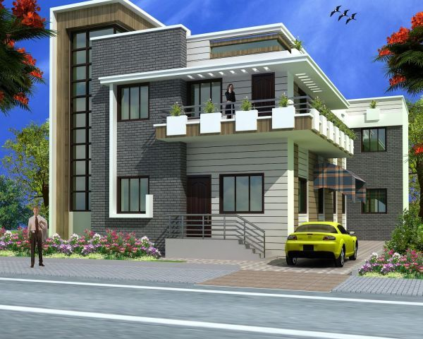 Independent house elevation designs in india house for House elevation models in india