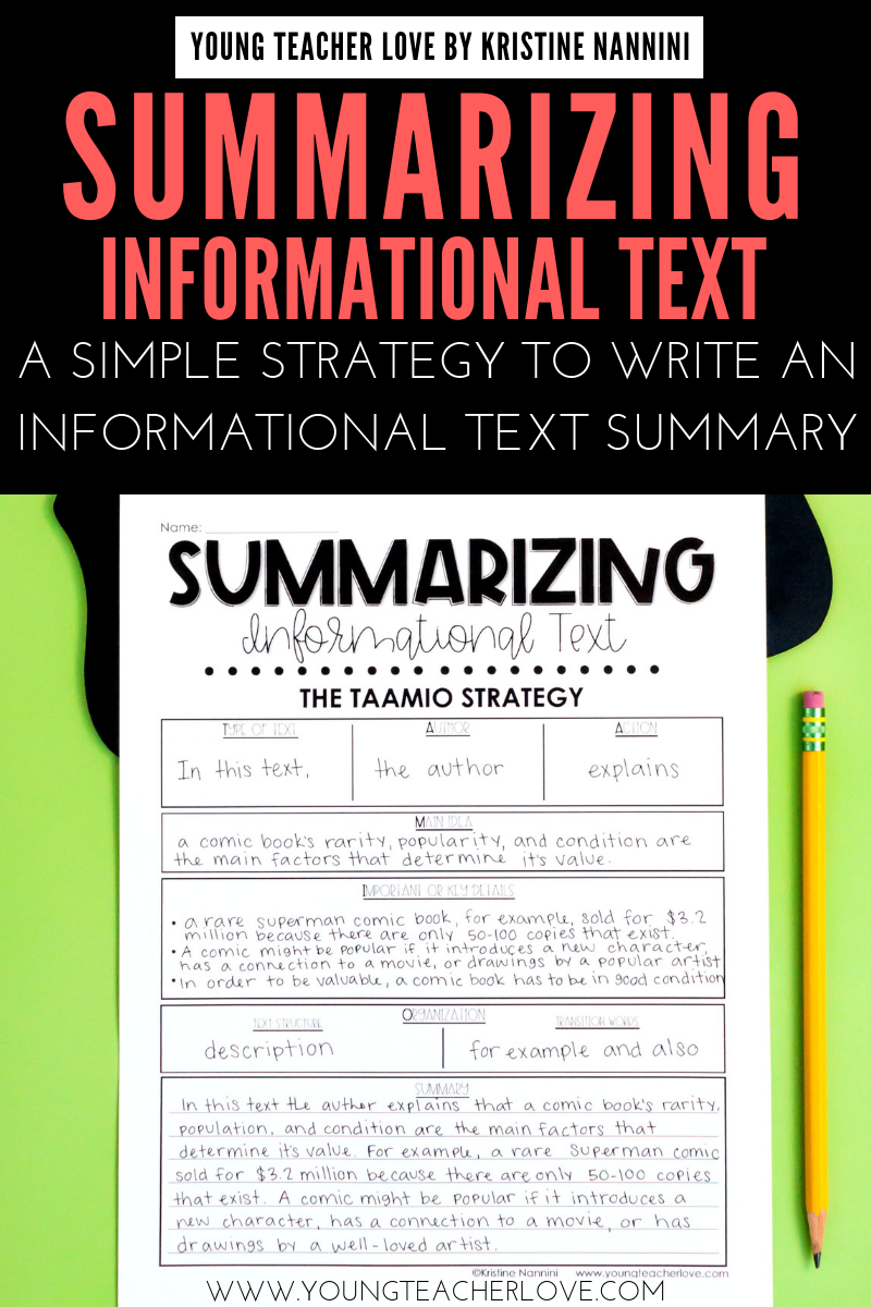 Teach your elementary students about Summarizing Informational Text: A Simple Strategy to Write an Summary. Summarizing nonfiction text teaches them to determine the most important ideas in a text, ignore unimportant information & connect the main idea & key details of a text in a logical way. It also helps improve memory & comprehension of a text. Students will learn the main idea, important or key details, follow the text structure & putting it all together. (3rd, 4th, 5th, 6th graders)