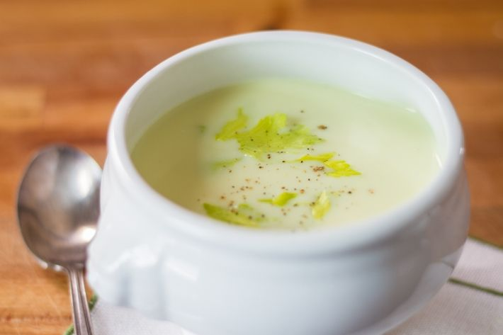 Celery is known for being lot of things, but creamy isn't one of them; however, when it's cooked with potatoes, chicken stock, heavy cream, and butter in the Anova Sous Vide Precision Cooker, then pureed, it takes on an entirely different profile.  Serve this cream of celery soup warm or chilled, with celery leaves and a drizzle of good extra-virgin olive oil.   Like most soups, this one is better after a night in the refrigerator and will hold for up to three days.