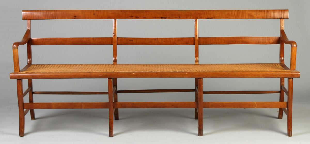Tiger Maple Bench w/Cane Seat | Cottone Auctions