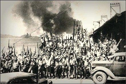 Banzai Japanese Troops Cheer At The Empire Docks During British