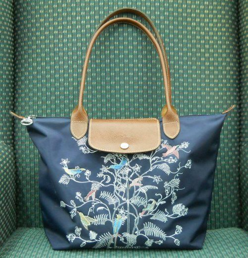 1004b96a1e3a Longchamp Le Pliage Tree of Life or Arbre de Vie - combines silkscreen and  embroidery for a vaguely Oriental design. The Le Pliage model is big in  Asia.
