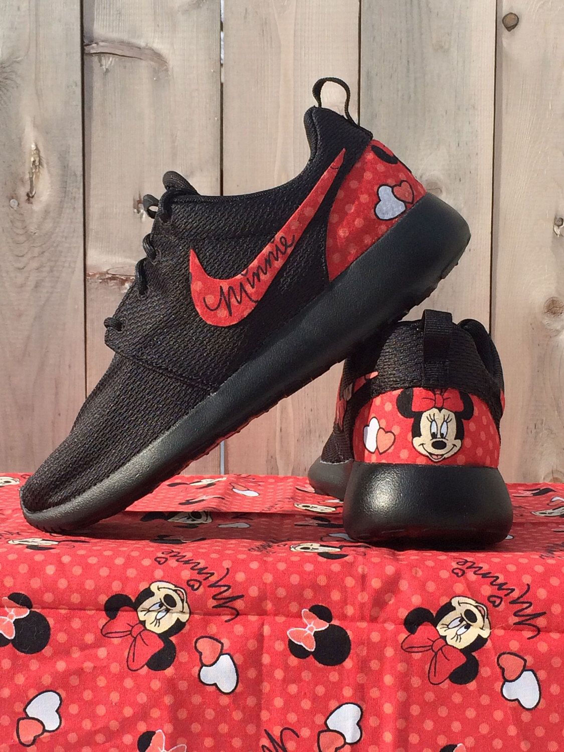 9d3e47a09a70 NEW Minnie Mouse Nike Custom Roshe by GrabbKicks on Etsy https   www.
