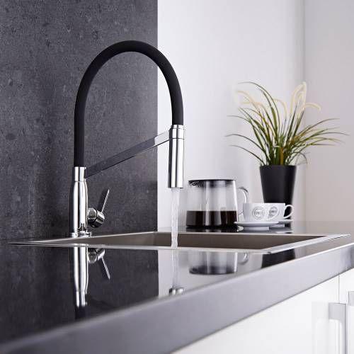 Hudson Reed Küchenarmatur mit flexibler Brause in Schwarz und - küchenarmatur mit brause