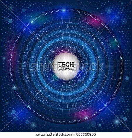 abstract digital hi tech technology concept radial computer