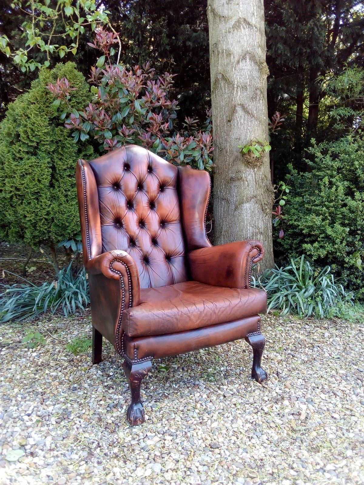 Beautiful vintage brown leather chesterfield wing back